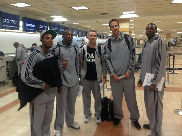 Coach Vear and Dalhousie Players at the Airport