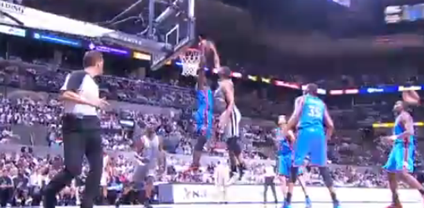 Tim Duncan Dunks on Serge Ibaka