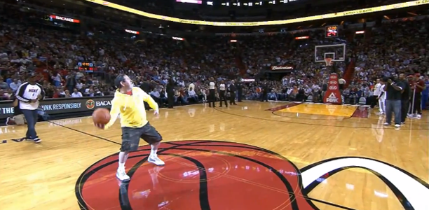 Miami Heat Fan Hits Half Court Shot LeBron Celebrates