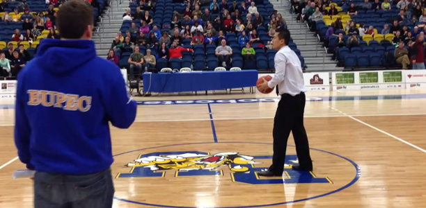 Brandon University Coach Half Court Shot for Tuition