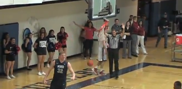 College player shatters backboard on dunk