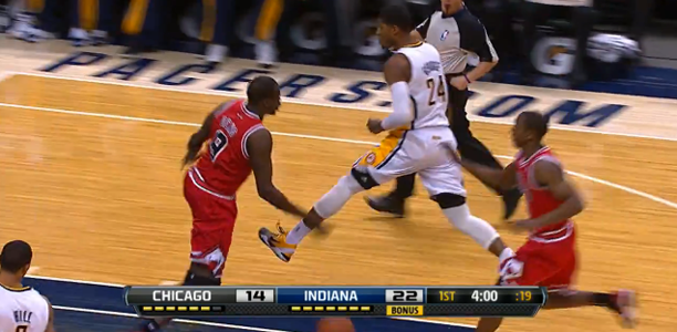 Paul George Through the Legs Pass to George Hill