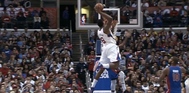 DeAndre Jordan dunks on Brandon Knight