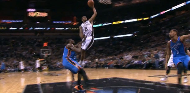 Kawhi Leonard Goes Around the Back & Dunks with the Left!