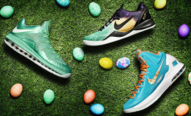 finest selection da721 a3f2b Our friends over at Nike sent these over for us to take a look at – check  out the LeBron X Low, Kobe 8 System and KD V all getting a makeover for  Easter ...