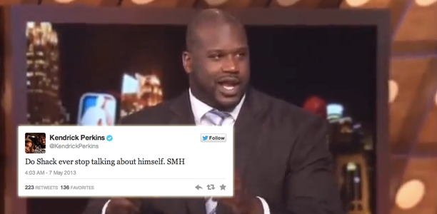 Shaq Takes Twitter Beef With Kendrick Perkins on Air with TNT!