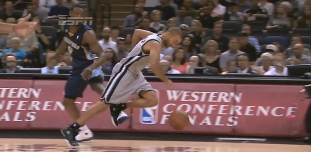 Post image for Tony Allen Trips Tony Parker on the Breakaway!