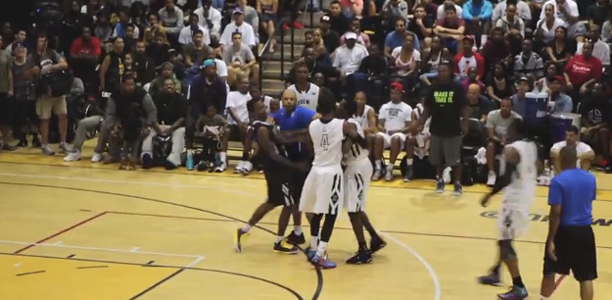 Mike-Taylor-Slaps-Brandon-Jennings-at-The-Drew-League