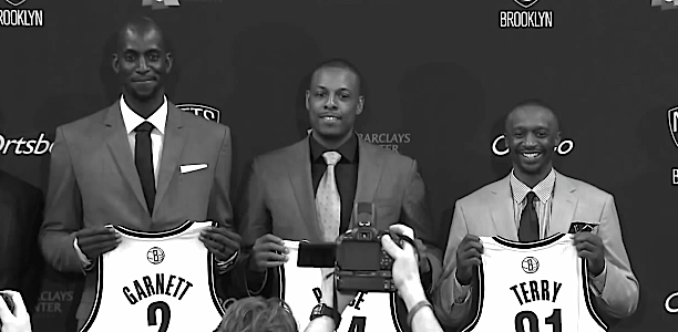 The Brooklyn Nets' big three new signings paraded in front of the press.